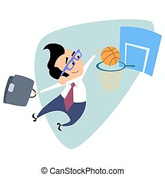 Businessman throws a basketball into the basket business theme sports