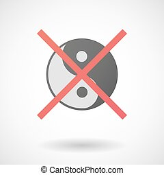 Not allowed icon with a ying yang