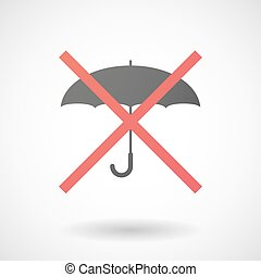 Not allowed icon with an umbrella - Illustration of a not...