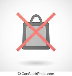 Not allowed icon with a shopping bag - Illustration of a not...