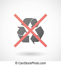 Not allowed icon with a recycle sign