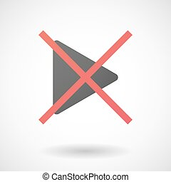 Not allowed icon with a play sign
