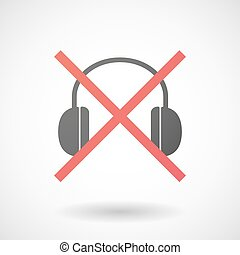 Not allowed icon with a earphones