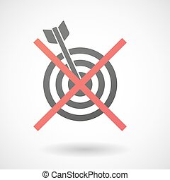 Not allowed icon with a dart board - Illustration of a not...