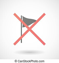 Not allowed icon with a golf flag - Illustration of a not...