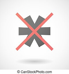 Not allowed icon with an asterisk - Illustration of a not...