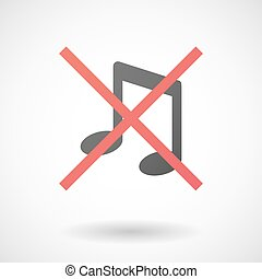 Not allowed icon with a musical note