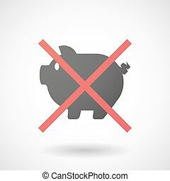 Not allowed icon with a pig