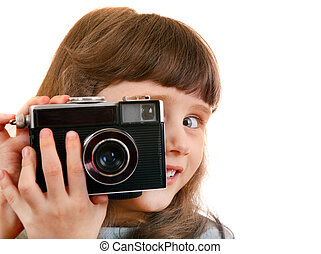 Little Girl with Photo Camera - Cheerful Little Girl with...