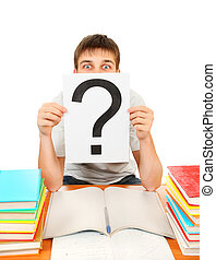 Student with Question Mark with the Books on the White...