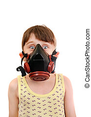 Little Girl in the Gas Mask - Surprised Little Girl in in...