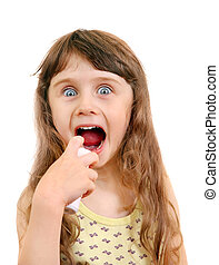 Little Girl with Inhaler - Surprised Little Girl with...