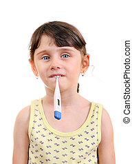 Little Girl with Thermometer Isolated on the White...