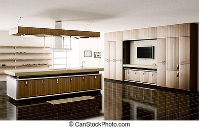 Interior of kitchen 3d render