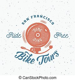 Bycicle Bell Abstract Retro Vector Label or Logo Template on...