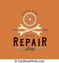 Retro Bycicle Repair Vector Label or Logo Template on...