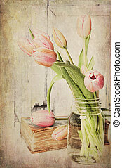 Vintage Pink Tulips - Fine art image of pink tulips in a jar...