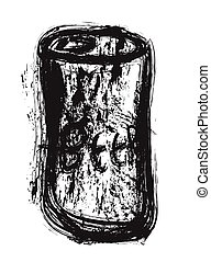 doodle grunge beer can, vector illustration art design...