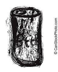 doodle grunge beer can, vector illustration art design...