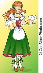 Pretty Pin Up Girl with beer mugs, Isolated