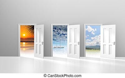 Choice of three doors to vacations - Choice of three doors...