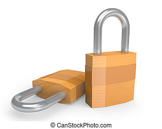 Pair of heavy duty padlocks in closed position over a white...