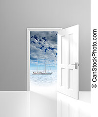 Door opening to vacation scenics and a relaxing yacht