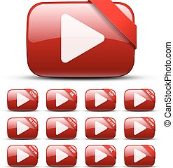 Video button with ribbon for text, with different titles:...