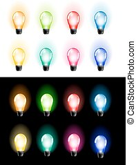 Lights - Colourful Glowing Christmas Bulbs Lights Set Vector...
