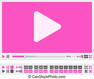 Video player - Vector video player template in flat violet...