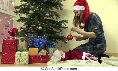 mother baby in christmas