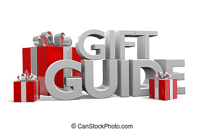 Gift guide text and three gifts - Gift guide text and three...
