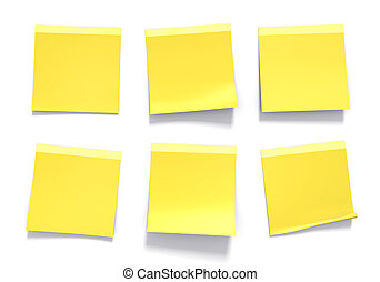 Set of yellow office sticky notes