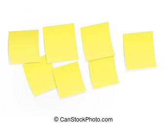 Sticky notes on white board vector illustration.