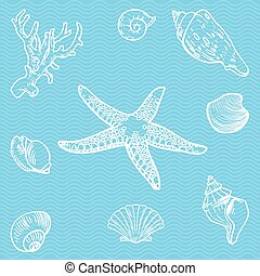 Vector set of sea fauna on blue background