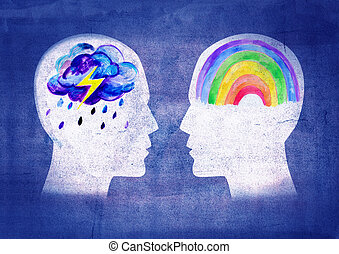 Different psyche people - Illustration of two people with...
