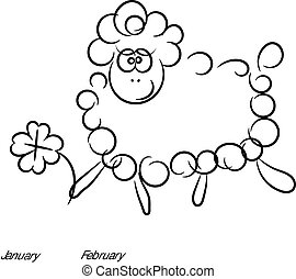 cartoon sheep vector on a white background.