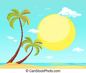 summer beach with palm tree and big