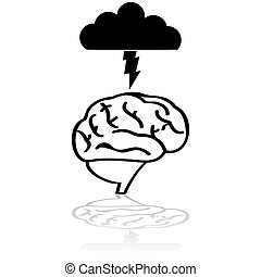 Brain storm - Concept illustration showing a brain with a...