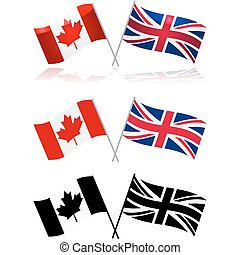 Canada and UK - Icon set showing variations of the Canadian...