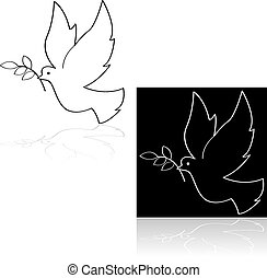 Peace dove - Icon set showing a peace dove carrying a branch