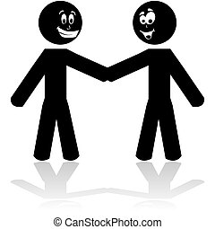 Friendly handshake - Cartoon illustration showing two stick...