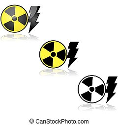 Nuclear energy - Icon set showing a radioactive sign beside...