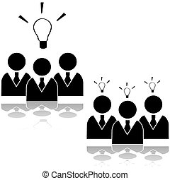 Team idea - Icon set showing a team of businessmen having an...