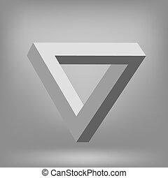 Triangle Isolated on Grey Background. Impossible Illusion.
