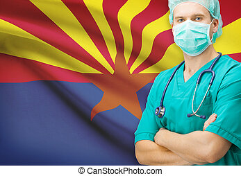 Surgeon with US state flag on background series - Arizona