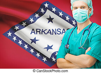Surgeon with US state flag on background series - Arkansas
