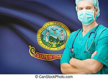 Surgeon with US state flag on background series - Idaho