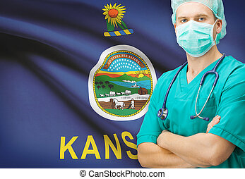 Surgeon with US state flag on background series - Kansas