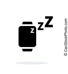 Sleep mode in smart watches simple icon on white background...